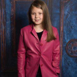 Płaszcz skórzany dla dziewczynki skóra naturalna