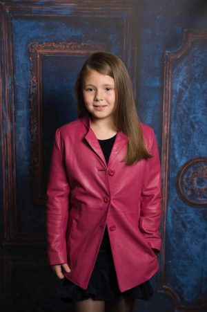 By Royal Baby Exclusive Skórzany Płaszczyk Skórzana kurtka dla dziewczynki