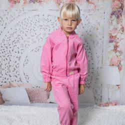 Różowy sztruksowy sportowy dres dla dziewczynki do przedszkola