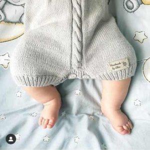 By Royal Baby Handmade Wełniany rampers śpioszki dla niemowląt Navy Blue