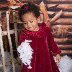 Lily bordowa aksamitna sukienka dla dziewczynki