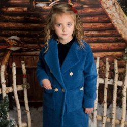 By Royal Baby elegancki granatowy płaszczyk dziecięcy dla dziewczynki alpaka