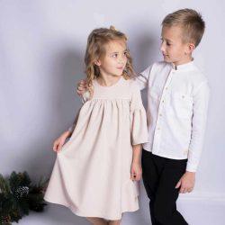 By Royal Baby Collection premium biała elegancka koszula dla chłopca z lnu