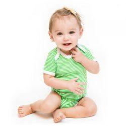 Ah Goo Baby Bawełniane body z krótkim rękawem na prezent Zielone Jabłuszko