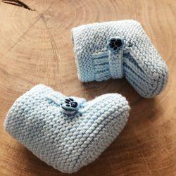 Niebieskie buciki niemowlęce handmade
