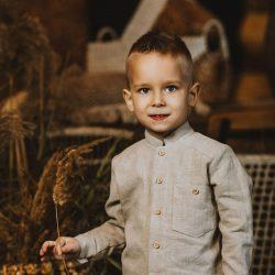 Premium beżowa lniana koszula dla chłopca długi rękaw