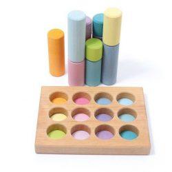 Grimm's Klocki drewniane dla dzieci małe walce pastelowa kolekcja