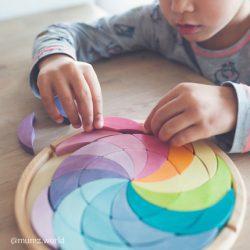 Grimm's Drewniana układanka klocki dla dziecka pastelowa spirala