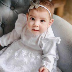 Chanel delikatna koronkowa sukienka dla dziewczynki na chrzest roczek