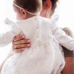 Chanel koronkowa sukienka dla dziewczynki na chrzest roczek