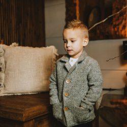 Elegancki płaszcz dla chłopca marynarka szary melanż – 3-4 lat (98-104 cm)
