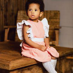 Marie delikatna sukienka dla dziewczynki z kokardką i falbanką – 0-3m (56-62 cm)