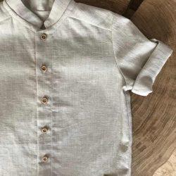 Beżowa koszula chłopięca krótki rękaw