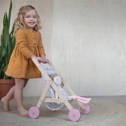 Little Dutch Drewniany wózek dla lalek Spring flowers
