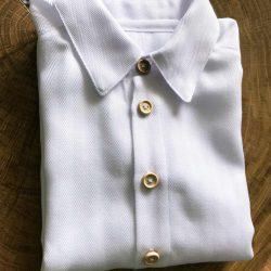 Exclusive biała elegancka koszula dla chłopca z długim rękawem jodełka