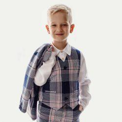 Lux Navy kamizelka dla chłopca granatowa krata