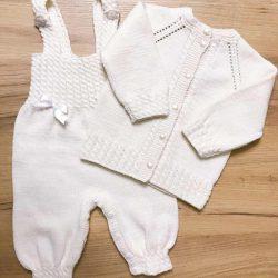 Komplet dla dziewczynki do chrztu wełniany handmade
