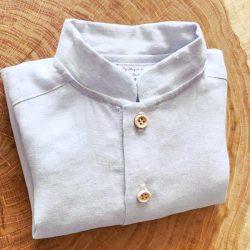 Premium lniana niebieska koszula ze stójką retro boho