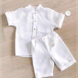Wizytowy komplet lniany dla chłopca biały koszula bermudy