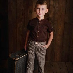 Lux Petite wizytowe spodnie chłopięce pepitka retro
