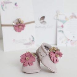 Balerinki z kwiatuszkami dla dziewczynki do chrztu