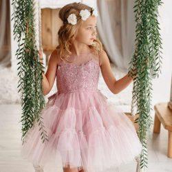 Anastazja tiulowa sukienka dla dziewczynki pudrowy róż