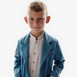 Koszula ze stójką dla chłopca biała lniana premium – 8-9 lat (128-134 cm)