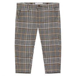 Wizytowe spodnie dla chłopca beżowa krata