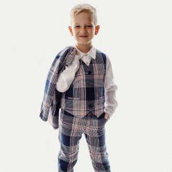 Lux Navy elegancki garnitur chłopięcy w kratę