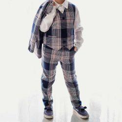 Lux Navy wizytowe spodnie dla chłopca kratka