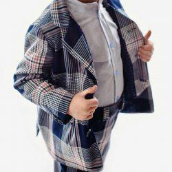 Błękitna koszula dla chłopca elegancka ze stójką
