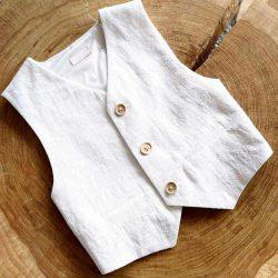 Royal Lux biała kamizelka dla chłopca