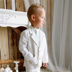 Lniana koszula ze stójką dla chłopca