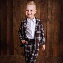 Deep Brown elegancki komplet dla chłopca