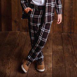 Deep Brown brązowe eleganckie spodnie dla chłopca