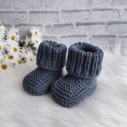 Szare buciki niemowlęce handmade