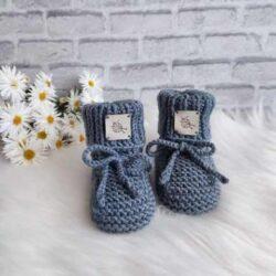 Popielate wełniane buciki skarpety niemowlęce