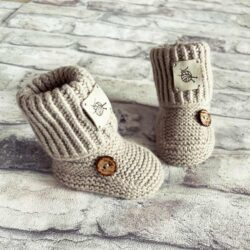 Beżowe wełniane buty niechodki handmade